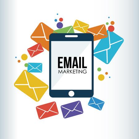 digital marketing: Illustration of digital device with envelops  Illustration