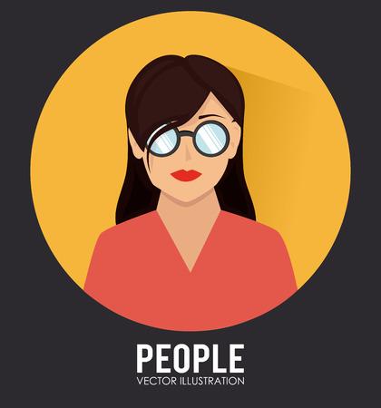 socializando: Ilustraci�n de una mujer con gafas Vectores