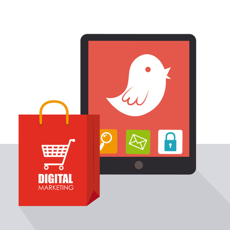 Illustration of digital device next to a shopping bag Vector