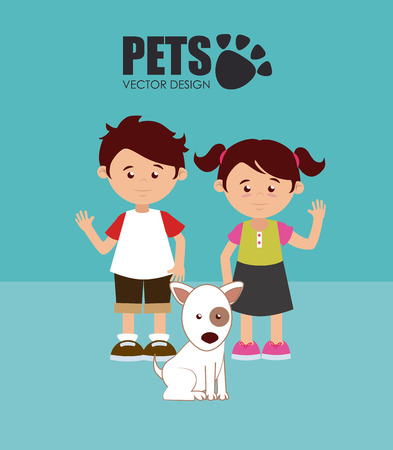 hapiness: Illustration of children with a dog Illustration