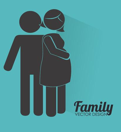 homelike: Family design over blue background, vector illustration