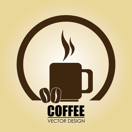 A cup of hot coffee and coffee beans Vector