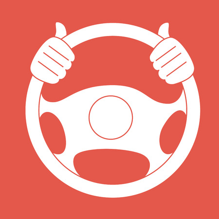 Illustration of hands on the steering wheel Vector