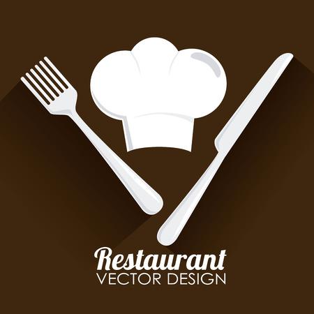 Ilustración de un sombrero de chef y utensilios Foto de archivo - 31095032
