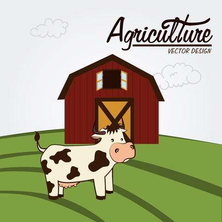 seeding: Illustration of a cow and a farm house