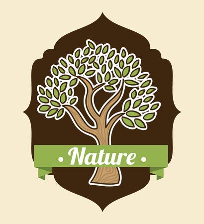 enviromental: eco tree design over beige background illustration
