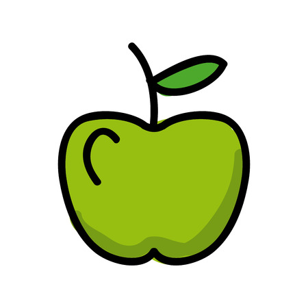 healt: green apple fruit design over white background illustration