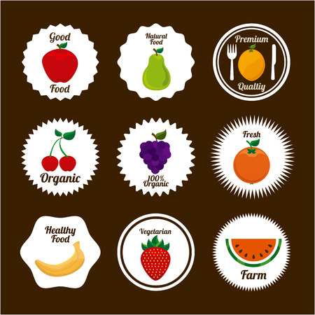 healt: fruits design over brown background illustration