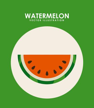 watermelon fruit design over green background illustration Illustration