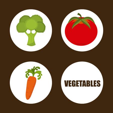 vegetables design over brown background illustration Vector