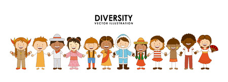 diversity of races over white background illustration Vector