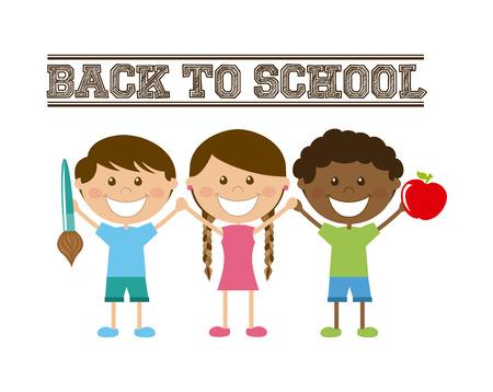 Arrière-école conception d'enfants sur fond blanc illustration Banque d'images - 31211920