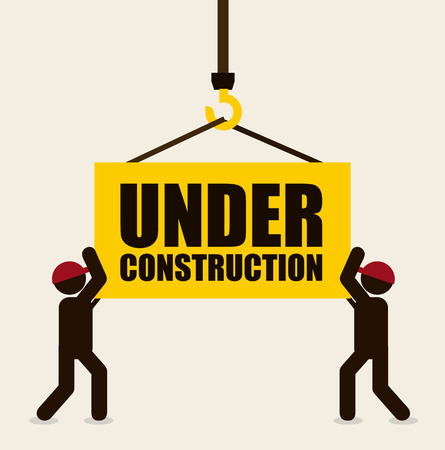 under construction sign design over beige background illustration Illustration