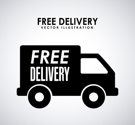 free shiping: free delivery design over gray background illustration
