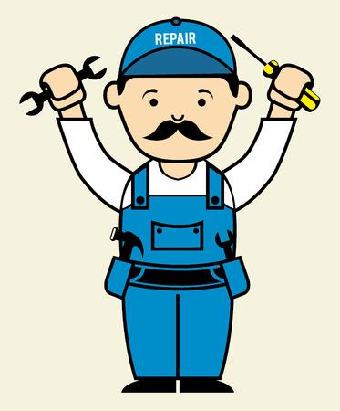 repair man: dise�o hombre de la reparaci�n sobre fondo blanco Ilustraci�n