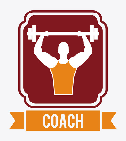 weight lifting coach design over white background illustration