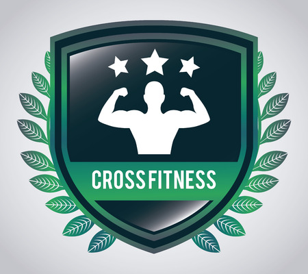 sporting event: cross fitness design over gray background illustration
