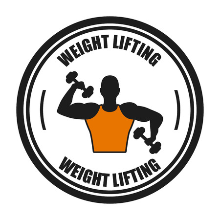 over weight: weight lifting design over white background illustration