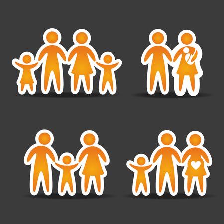 black family: family design over black background illustration
