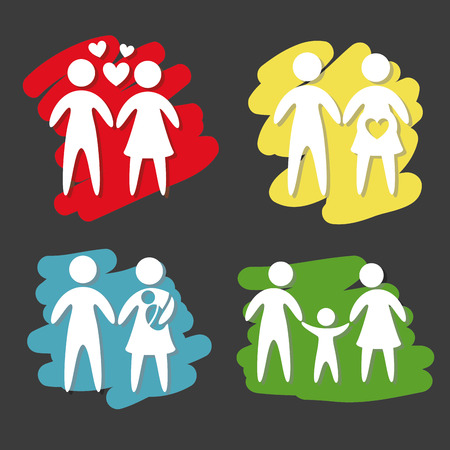 black family: family design over black background illustration