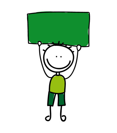 green board: boy hold a green board design over white background illustration
