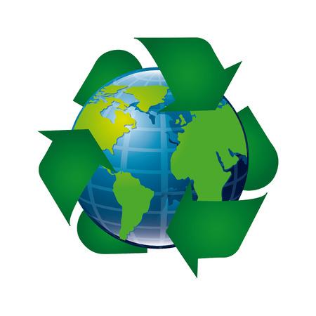 enviromental: eco recycle design over white background illustration