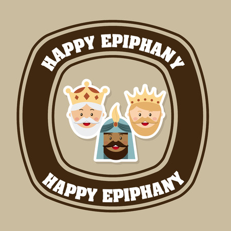 happy epiphany over brown background illustration
