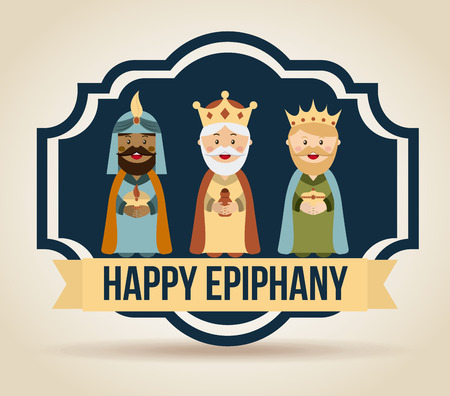 balthasar: happy epiphany over beige background illustration