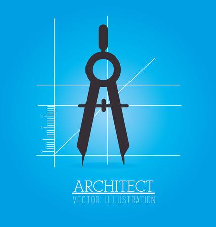 architect tools: architect compass design over blue background illustration