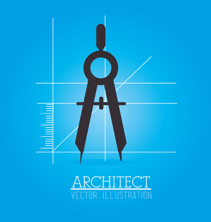 arquitecto: dise�o arquitecto br�jula sobre fondo azul ilustraci�n