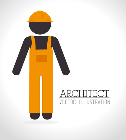 recondition: Construction worker design over white background illustration