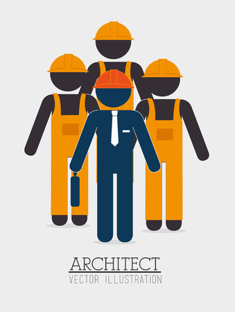 construction team: Construction team design over white background illustration