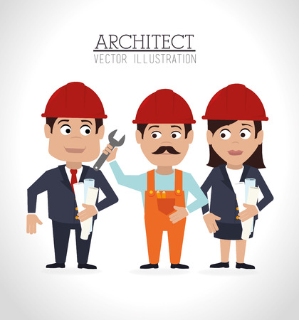 recondition: Construction architect design over white background illustration