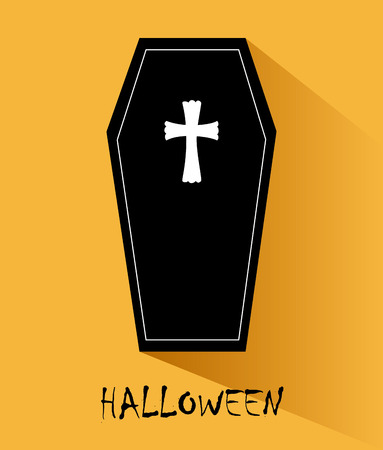 hallows: Halloween design over yellow background illustration