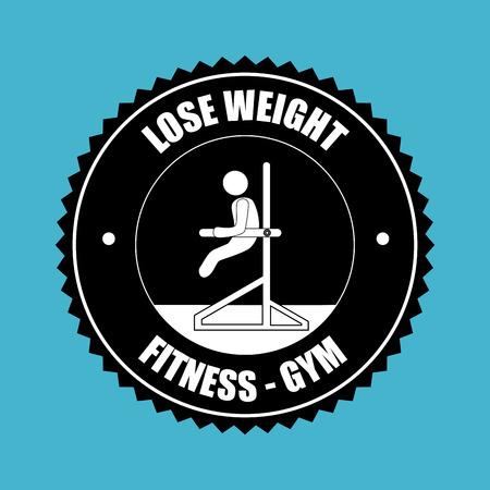 over weight: lose weight Fitness-gym design over blue background illustration Illustration