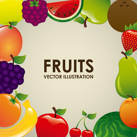 healt: fruits design over beige background illustration