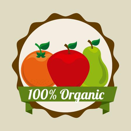 nutritious: fruits design over beige background illustration