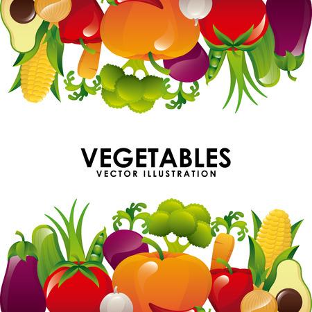 organic vegetables over white background illustration Vector