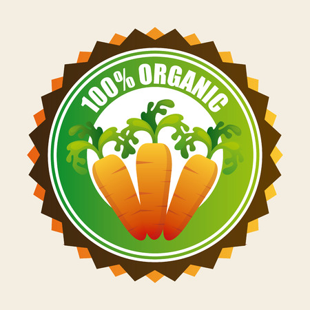 100% organic product over white background illustration Vector