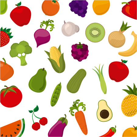 organic products over white background illustration Vector