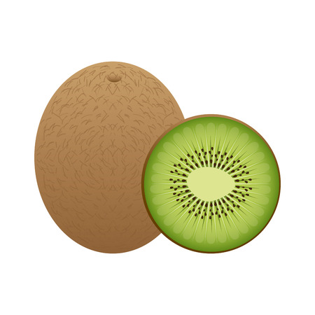 kiwi fruit design over white background illustration Illustration