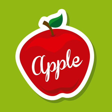 healt: apple fruit design over green background illustration