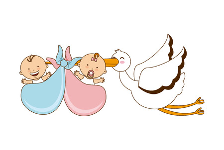 babies with stork design over white background illustration