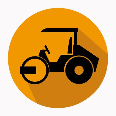 steamroller: Construction vehicle design over white background illustration