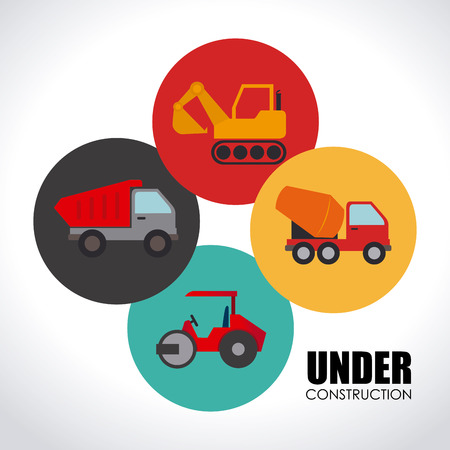 steamroller: Construction vehicles design over white background illustration