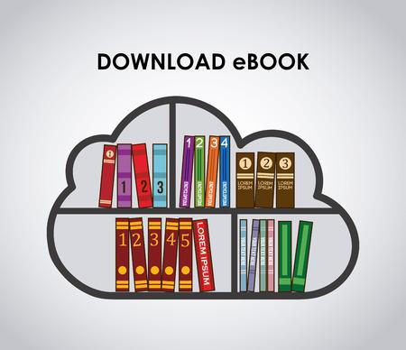 electronic publishing: eBook design over gray background illustration Illustration