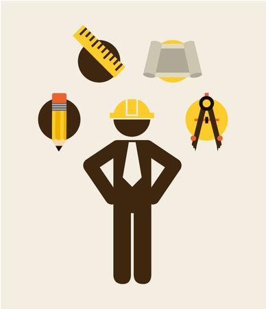 profesional: under construction design over white background  illustration