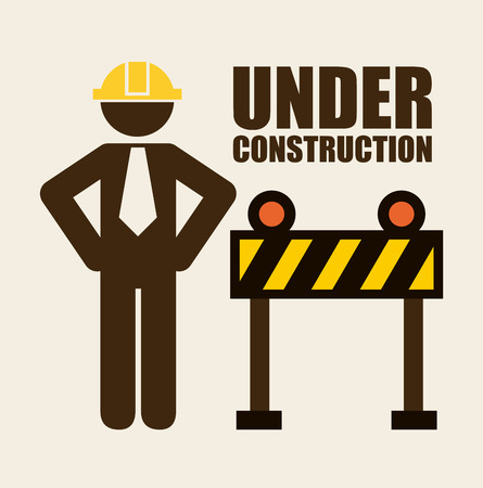 dangerous construction: under construction design over white background illustration Illustration