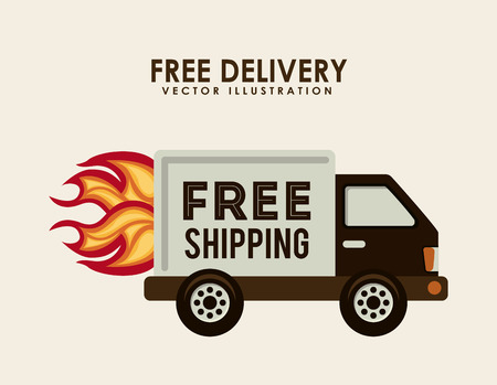 free shiping: free delivery design over white background illustration