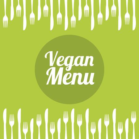 aliment: vegan food menu over green background illustration Illustration